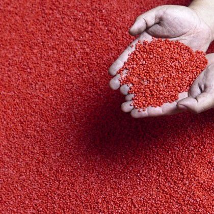 red plastic pellets